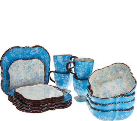 """As Is"" Temp-tations Floral Lace 16- Pc. Square Dinnerware Set"