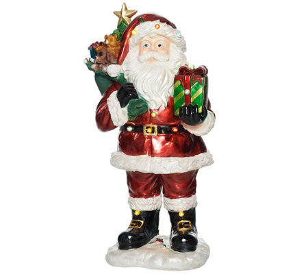 "Kringle Express Indoor/Outdoor 37"" Illuminated Santa Claus with Gift Bag"
