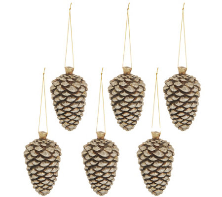 Set of (6) Antiqued Pinecone Ornaments