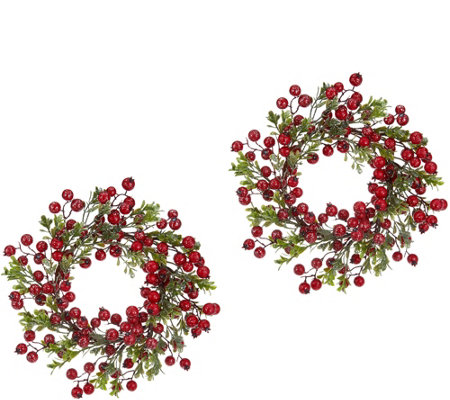 """As Is"" S/2 12"" Glistening Boxwood & Berry Wreaths by Valerie"