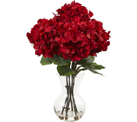 "18"" Red Hydrangea Silk Arrangement w/ Vase by Nearly Natural"