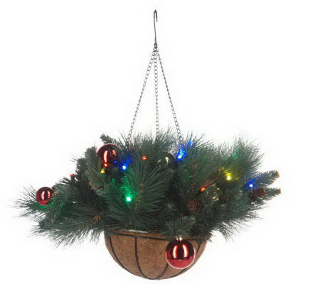 Christmas Hanging Baskets With Lights.Bethlehem Lights Ornament Hanging Basket With Timer Qvc Com