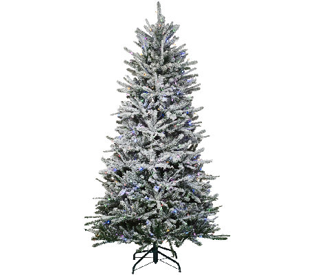 santas best 9 snow flurry tree with 7 function led lights - Santas Best Christmas Trees