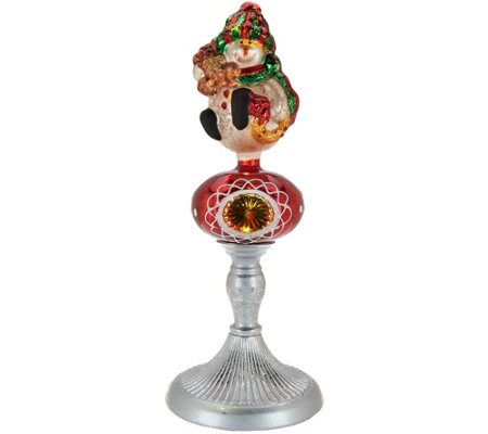 Kringle Express Illuminated Mercury Glass Character on Pedestal