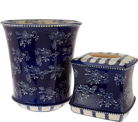 Temp-tations Floral Lace Tissue and Trashcan Set
