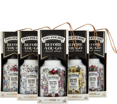 Poo-Pourri Set of 5 2oz. Bathroom Deodorizers in Gift Boxes