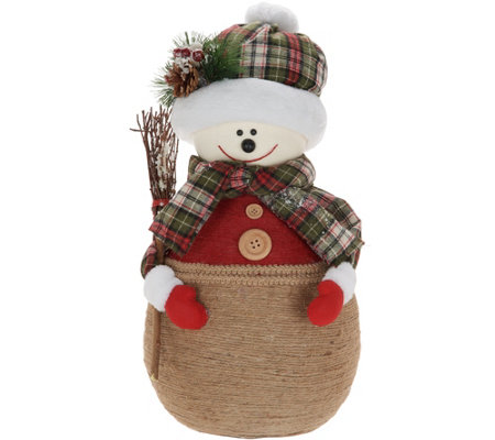 """As Is"" Oversized Mom or Dad Snowman w/ Plaid Scarf by Valerie"
