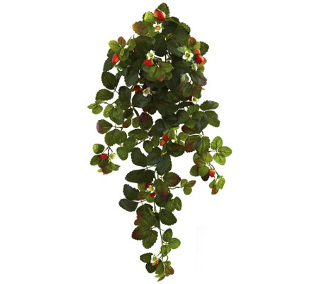 Strawberry Hanging Bush Set Of 2 By Nearly Natural