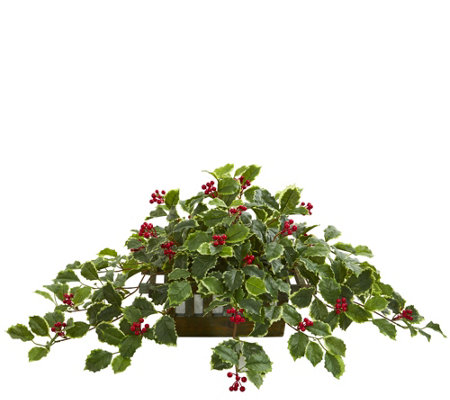 37 Holly Leaf In Planter Real Touch By Nearlynatural