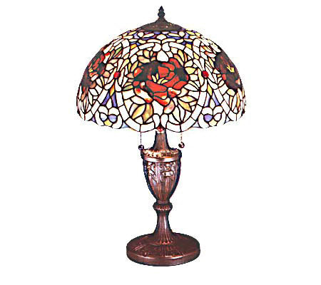 "Tiffany Style 24""H Renaissance Rose Lamp"