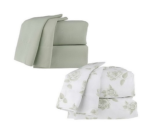 Northern Nights Set Of 2 Solid Floral King Flannel Sheet Sets Qvc Com