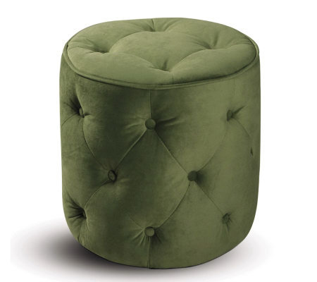 Avenue Six Curves Tufted Round Ottoman - SpringGreen