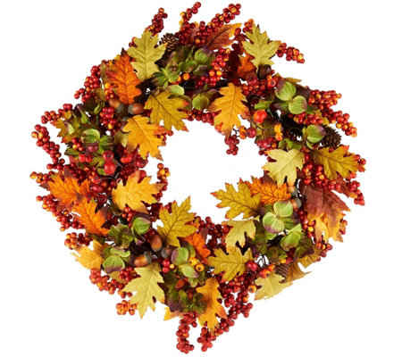 """As Is"" 19"" Leaves, Berry and Hydrangea Wreath"