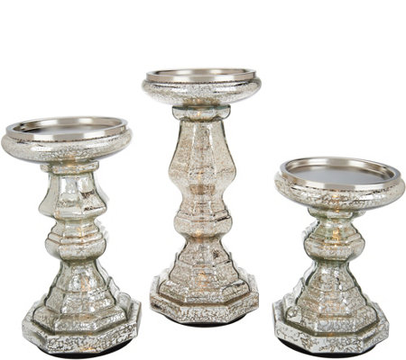 S/3 Illuminated Mercury Glass Candle Holder Pedestals by Valerie