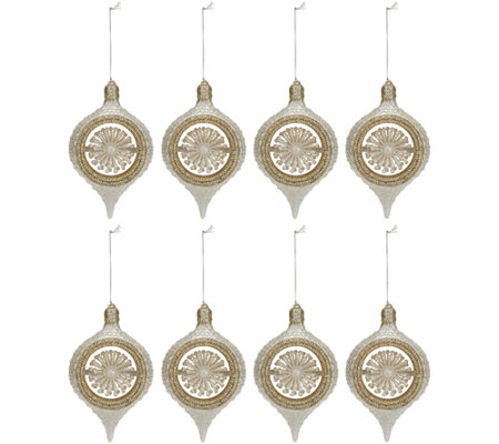 Set Of 8 6 Glittered Finial Ornaments