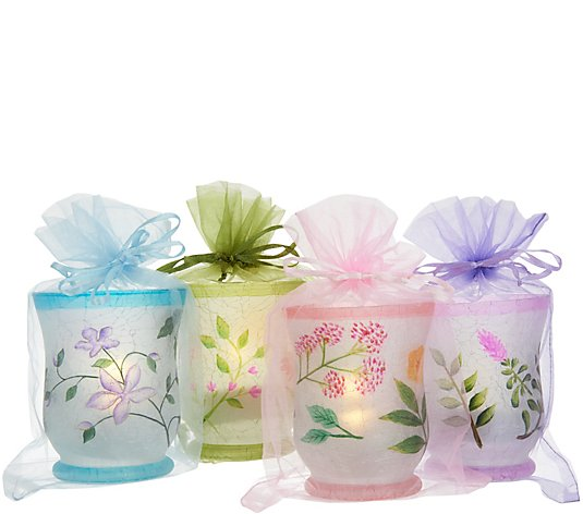 Set of 4 Floral Mini Hurricanes with Tealights and Sheer Bags by Valerie