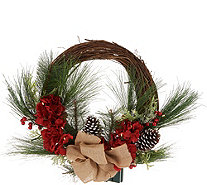 """As Is"" Scott Living Illuminated Floral Rattan Wreath - H218287"