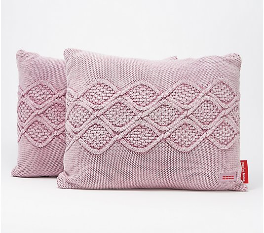 "Peace Love World Set of 2 20"" x 16"" Knitted Pillows"