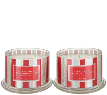 """As Is"" HomeWorx by Harry Slatkin S/2 Peppermint Lane Candles"