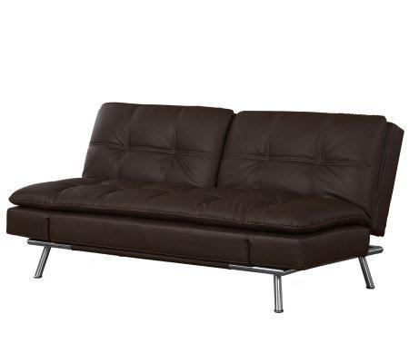 serta metro faux leather brown click clack convertible sofa qvc com