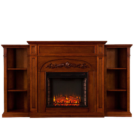 Chantelle Electric Fireplace with Bookcase