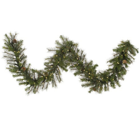 9' Prelit Modesto Pine Garland w/ LED Lights byVickerman