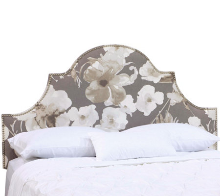 Skyline Furniture Arch Nail Button Floral KingHeadboard