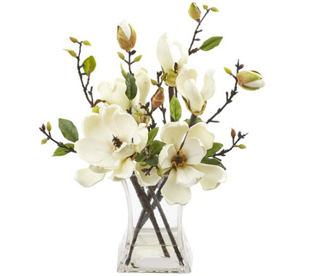 Magnolia Arrangement with Vase by Nearly Natural