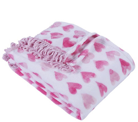 Berkshire Blanket Watercolor Hearts Velvet SoftThrow Blanket
