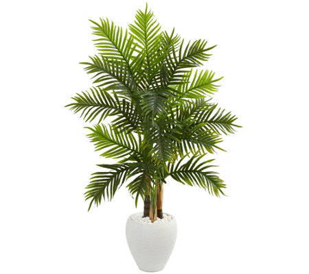 5 Areca Palm Tree In White Planter By Nearly Natural