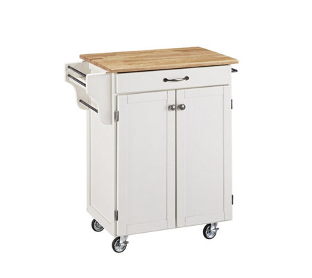 Home Styles Cuisine Cart White Finish with Natual Top