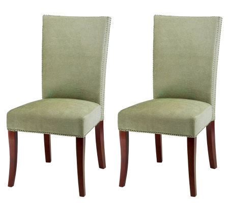 High-Back Cotton and Beechwood Side Chair - Setof 2