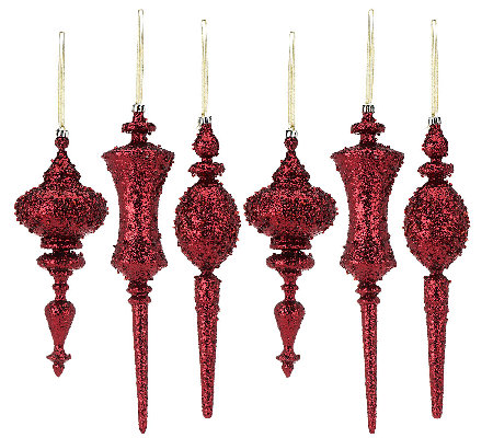 6-Piece Glitter Finial Ornaments