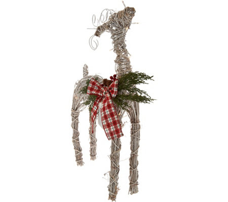 "29"" Oversized Illuminated Twig Deer with Timer by Valerie"