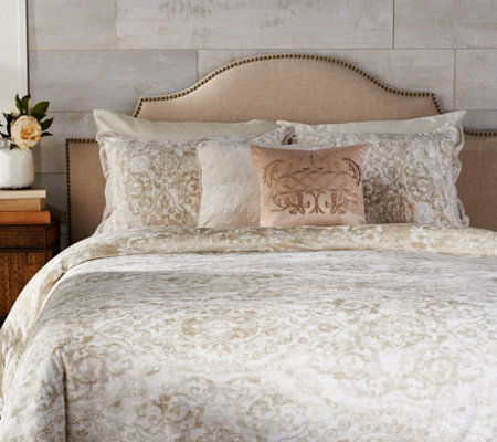 Casa Zeta-Jones Velvet Damask Reversible FL Comforter Set w/ Pillows