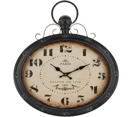 "20.5"" Oval Metal Clock by Valerie"