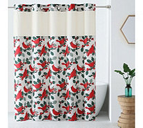 Hookless Holiday Print Shower Curtain with Built-In Liner - H216688
