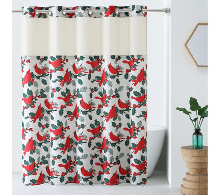 Hookless Holiday Print Shower Curtain With Built In Liner Page 1