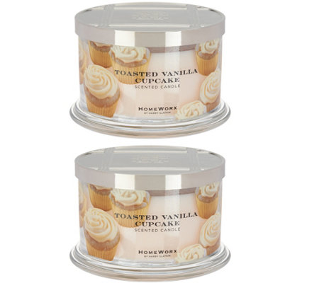 HomeWorx by Harry Slatkin Set of 2 Toasted Vanilla Cupcake Candles