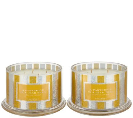 """As Is"" HomeWorx by Harry Slatkin S/2 Pear Tree 4-Wick Candles"