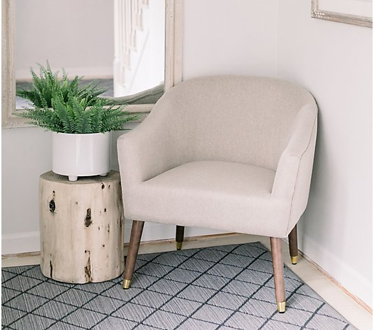 Upholstered Armchair with Wooden Legs by Lauren McBride