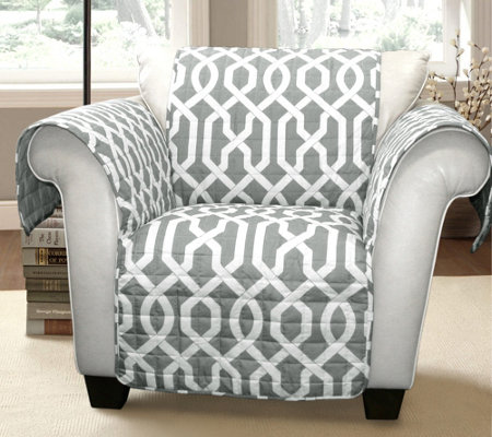 Edward Trellis Gray Chair Furniture Protector by Lush Decor