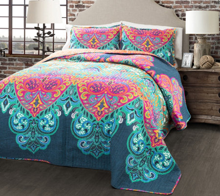 Boho Chic 3-Piece King Quilt Set by Lush Decor