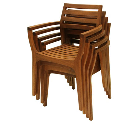 Outdoor Interiors Danish Eucalyptus Stacking Arm Chairs 4-Pac