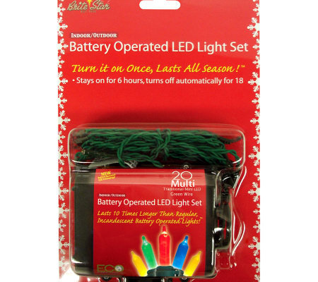 Set Of 2 Battery Operated 20 Light Mini Leds Multicolored