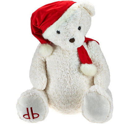 "Dennis Basso 29"" Jumbo Cuddly Teddy Bear with Santa Hat"