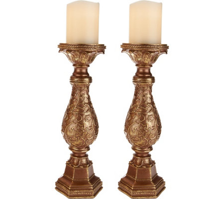 Set of 2 Scroll Pedestals with Flameless Candles by Home Reflections