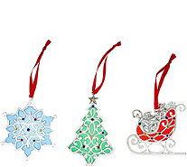 Lenox Set of 3 Merry & Bright Iridescent Silver Plated Ornaments - H215789