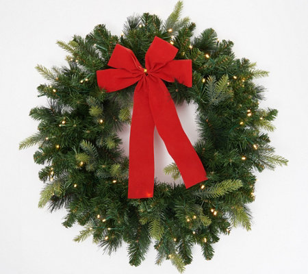 """As Is"" Bethlehem Lights 26"" Green Overlit Wreath w/ Bow"