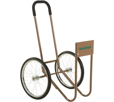 Plow & Hearth Wood Caddy with Large Wheels